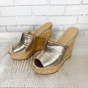 Express Gold Platform Cork Wedge Sandals